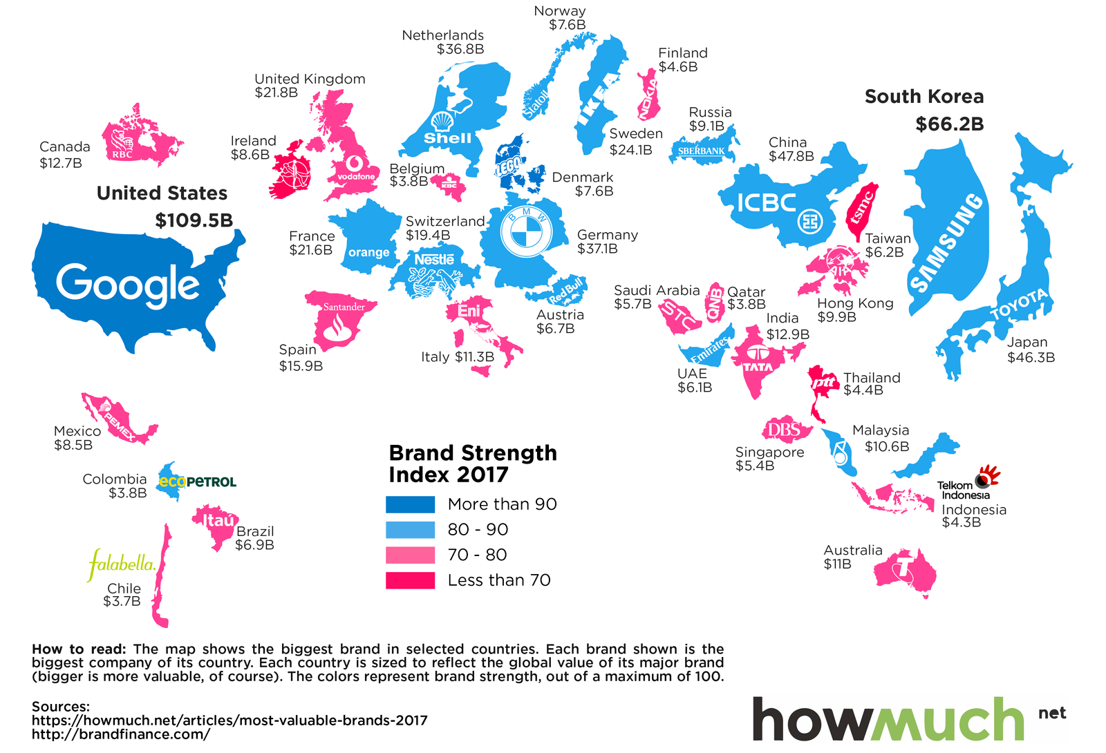 This Map Shows the Most Valuable Brand for Each Country