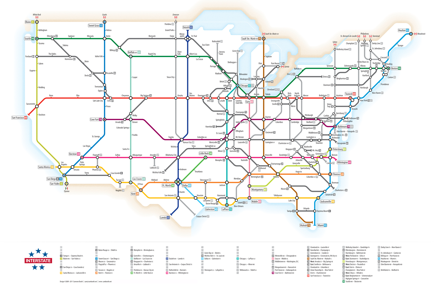 U.S. Interstate Highways, as a Transit Map