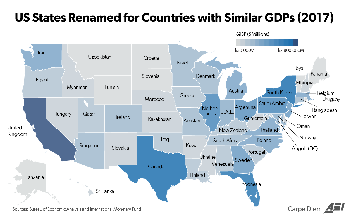 This Map Compares The Size Of State Economies With Entire Countries - Us-states-and-map