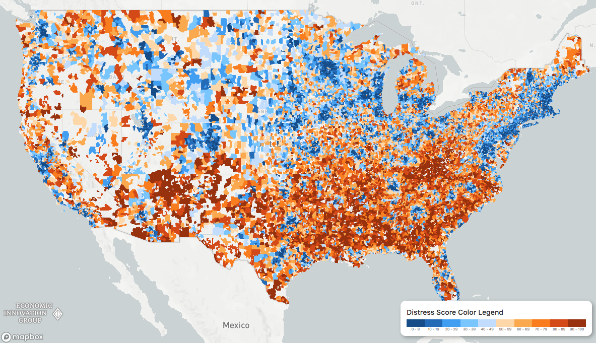 distressed communities map zip codes